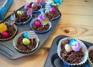 Easter crafting with kids chocolate crispy cakes