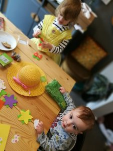 Easter crafting with kids bonnet making