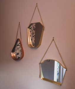 painted wall valspar grey green blush mirrors anthropologie antique brass copper gold not just a tit office revamp