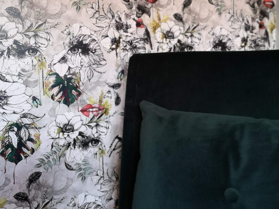 our office revamp not just a tit made.com haru sofabed green velvet muck n brass wallpaper