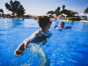 summer holiday corfu not just a tit lifestyle blog swimming pool mummy daughter