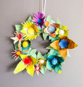 easter crafting with kids lockdown finished wreath colourful cardboard flowers