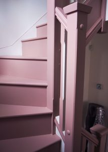 how to create a stunning staircase on a budget pink stairs frenchic alfresco dusky pink spindles