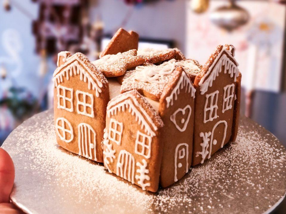 festive baking header image gingerbread house village christmas cake decoration notjustatit