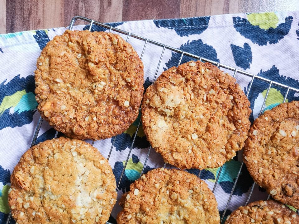 mango and coconut anzac cookies notjustatit baking belly bakes recipe series on eleanor bowmer pink leopard print tea towel
